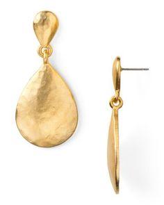 Kenneth Jay Lane Hammered Gold Teardrop Earrings   Bloomingdale's