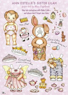 Here are a few pages of Lilah paper dolls, she is Ann Estelle& little baby sister by artist Mary Engelbreit from her magaz. Mary Engelbreit, Art Origami, Paper Dolls Printable, Vintage Paper Dolls, Paper Toys, Doll Toys, Baby Dolls, Paper Crafting, Paper Art