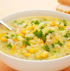 Corn chowder is usually made with cream and butter—and is filled with fat and calories. We created this lighter version that is every bit as tasty. Yum! #soup #dinner #recipes #vegetarian