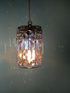 Hanging beaded lamp silver Restoration by lisalawrence1967 on Etsy, $70.00