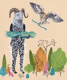 Drew Mosley - Mountain Goat with Owl – Buy Some Damn Art