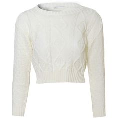 White Fisherman Cable Knit Crop Jumper ($22) ❤ liked on Polyvore featuring tops, sweaters, cream, cropped sweater, white sweater, long sleeve sweaters, white long sleeve sweater and cream sweater