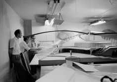 Stunning photograph by the great architectural photographer Balthazar Korab of the Eero Saarinen office working on the model for the TWA terminal building.