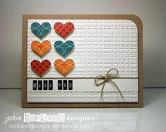 By Jackie Rockwell. Hearts were stamped with VersaMark & clear embossed.