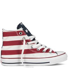 Chuck Taylor Stars and Bars - White & Red - All Star - Converse