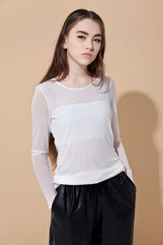 Basic tee in double-layer chiffon(white) - FrontRowShop