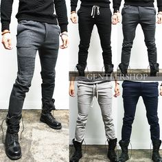 Mens Fashion Designer Slim Fit Seaming Biker Sweatpants 4 Colors, GENTLERSHOP