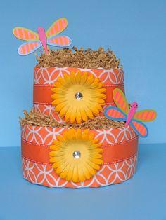 Diaper Cake  2 Tier Diaper Cake  Orange by PamperedBabyCreation