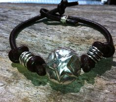 leather and sterling star bracelet by LuckyCowgirlDesigns on Etsy, $30.00