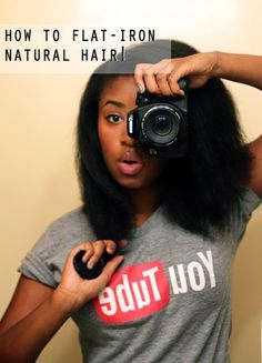How to Flat Iron Natural Hair in 3 Easy Steps | Black Girl with Long Hair