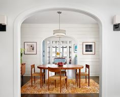Reclaimed pine ship lap, Danish modern dining chairs | Clayton & Little Architects
