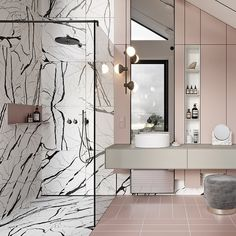 """Design Milk on Instagram: """"Hold on, BRB. We just need a minute to pack our bags and move into this amazing pink #bathroom. 😍💕 Designed by @tolkointeriors"""""""