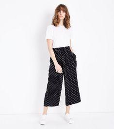 Black Spot Print Tie Waist Trousers | New Look