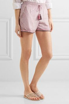 Talitha - Tasseled Embellished Printed Cotton And Silk-blend Gauze Shorts - Pink - x small
