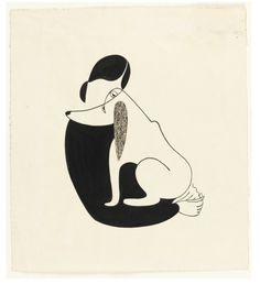 Woman and a dog, Christina Malman, 1935. Drawing, USA.  Thanks to design-is-fine on Tumblr.
