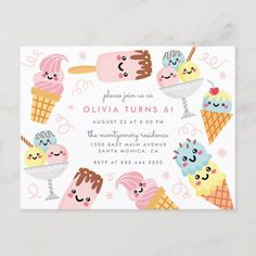 Cute Pastel Ice-cream Kid's Birthday Party Invitation Postcard Cute kid's birthday party invitation featuring a kawaii pastel ice-cream selection with soft pink confetti against a white background. Perfect for summer birthday celebrations. Ice Cream Theme, Ice Cream Party, Summer Birthday, Girl First Birthday, Paris Birthday, Kids Birthday Party Invitations, Birthday Parties, Birthday Celebrations, Birthday Ideas