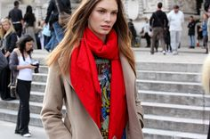 Brave red scarf liking it.