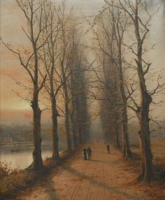 AUTUMN AT SUNSET by Nils Hans Christiansen (1850-1922)