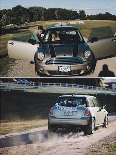 new mini coop wedding transportation #minicooper #getawaycar #weddingexit http://www.weddingchicks.com/2014/01/13/eclectic-midwest-wedding/
