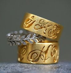 cathy waterman love of my life 22k gold / platinum / diamond ring collection loml-03 narrow monogram band small wheat band wide monogram band