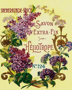 French Vintage Soap Label Heliotrope jpeg instant digital download
