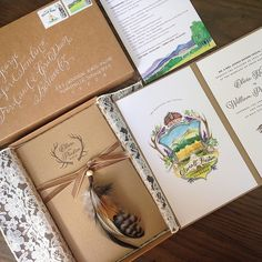 custom wedding invitation / colorado / outdoor wedding / letterpress / woodgrain paper / custom watercolor crest / © tenn hens design