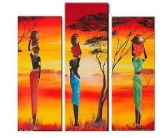 ❥●❥ ♥ ♥ ❥●❥ Triptych Wall Art, African Art Paintings, Africa Art, Art Corner, African American Art, Black Women Art, Aboriginal Art, Tribal Art, Indian Art