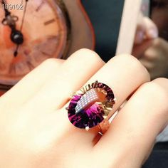 HCBYJ Lady ring 1ct Genuine Oval Amethyst Engagement Ring Anniversary 925 Sterling Silver Jewelry Women