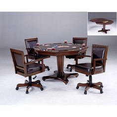 Hillsdale Furniture Ambassador Rich Cherry Octagon Game Table And Four Chairs