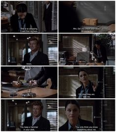 I burst out laughing so loud when she took the hammer to the box! LOL, his face was just so priceless when she destroyed the box only he knew how to open! Series Movies, Movies And Tv Shows, Tv Series, Simon Baker, Tv Quotes, Movie Quotes, Detective, I Love Simon, Robin Tunney