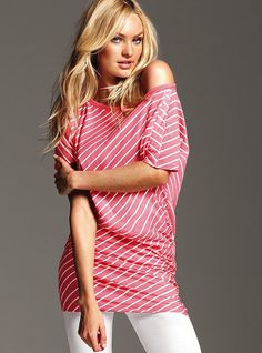 """Off-the-shoulder Tunic, $24.50 or Special 2/$40. #283-102. Purchase in """"pink stripe"""" (shown). Purchase with Ruched Crop Daily Legging in """"white"""" (shown)."""