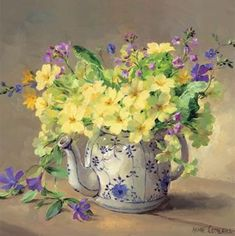Primroses in a Teapot - Birthday Card by Anne Cotterill Flower Art