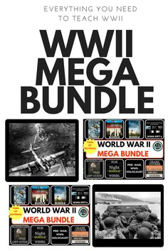 This is everything you need to teach WWII, World War II, and more. It includes World History plans and US History plans more than 1 month of lessons, PPT's, video guides, and more.