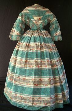 Back of warp-printed dress c.1859