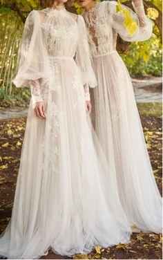Costarellos Bridal- Illusion Neckline Tulle Gown