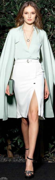 Halston Heritage Resort 2016: beautiful mint shirt and matching coat paired with a white pencil skirt with thigh slit #glamorous...x