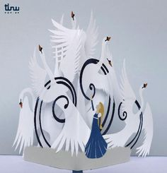 Tinu pop up freres swans paper paper 3D card popup