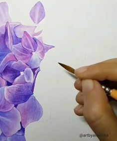 Watercolor Painting flower diy - Aquarelle - Watercolor Paint You are in the right place about cactus plants Here we offer you the most beautifu - Watercolor Flowers Tutorial, Floral Watercolor, Watercolor Painting Techniques, Watercolor Paintings, Iris Painting, Gouache Painting, Watercolors, Hydrangea Painting, Sea Glass Art