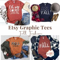 The best fall fashion t-shirts from Etsy! Super in style and festive for this time of year! #fallfashion #falltee Love Her Style, Cool Style, Fall Fashion Trends, Autumn Fashion, Fall Outfits, Cute Outfits, Best Fashion Blogs, Drugstore Beauty, Fashion Graphic