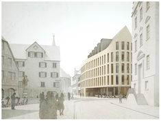 Stadtbibliothek Rottenburg a. Public Architecture, Architecture Drawings, School Architecture, Landscape Architecture, Architecture Design, Rendering Techniques, Shopping Street, Building Facade, Civil Engineering