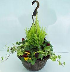 30CM FLUTED HANGING BASKET IN BLACK WITH GOLD (06FB) Plants, Garden, Fall Planters, Hanging, Planters, Hanging Baskets