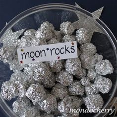 "Simple idea for 'moon rocks' - scrunched up tinfoil ("",)"