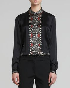 Printed-Placket Silk Blouse, Black by Etro at Neiman Marcus.