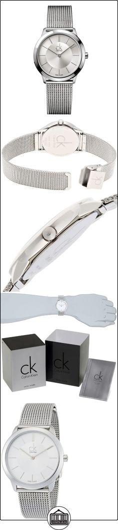 Calvin Klein K3M22126 - Reloj analógico de cuarzo para mujer con correa de acero inoxidable, color plateado  ✿ Relojes para mujer - (Gama media/alta) ✿