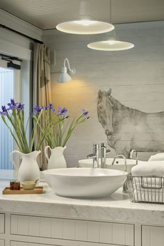 Horse mural in one of 3 new treatment rooms Farmhouse Inn, Modern Farmhouse, Farmhouse Style, Farmhouse Decor, Country Chic, Wine Country, Modern Country, Horse Mural, Horse Wallpaper