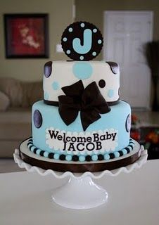"Baby Boy Shower Cake -baby blue and chocolate brown. ""Welcome Baby Boy"" with a ""B"" on top of cake. Torta Baby Shower, Baby Shower Cakes For Boys, Baby Boy Cakes, Baby Boy Shower, Beautiful Cakes, Amazing Cakes, Fondant Cakes, Cupcake Cakes, Baby Showers"