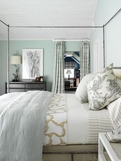 Soft sea foam green Modern Bedroom Design, Pictures, Remodel, Decor and Ideas - page 5