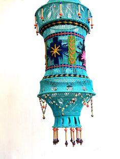 Macrame hanging pendant turquoise vintage boho by GoldDustGoods