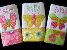 Personalized Burp Cloths  Appliqued Butterflies  by SeamsSewSweet, $36.00