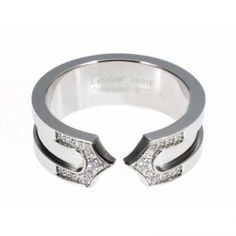 Cartier 14K White Gold Plated Double C Decor Ring with Diamond ...
